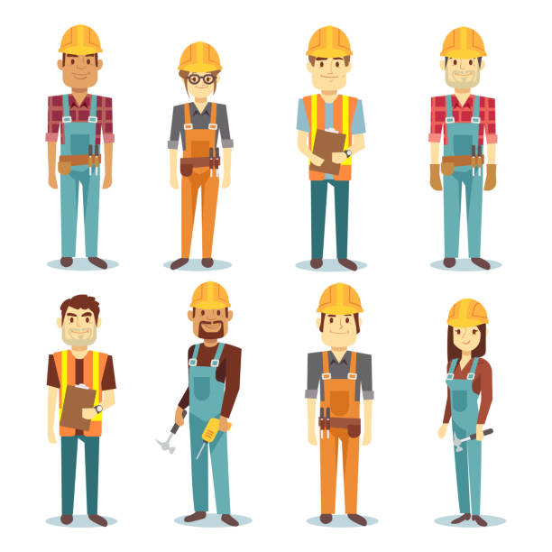 Builder contractor man and female worker vector people character set – Vektorgrafik