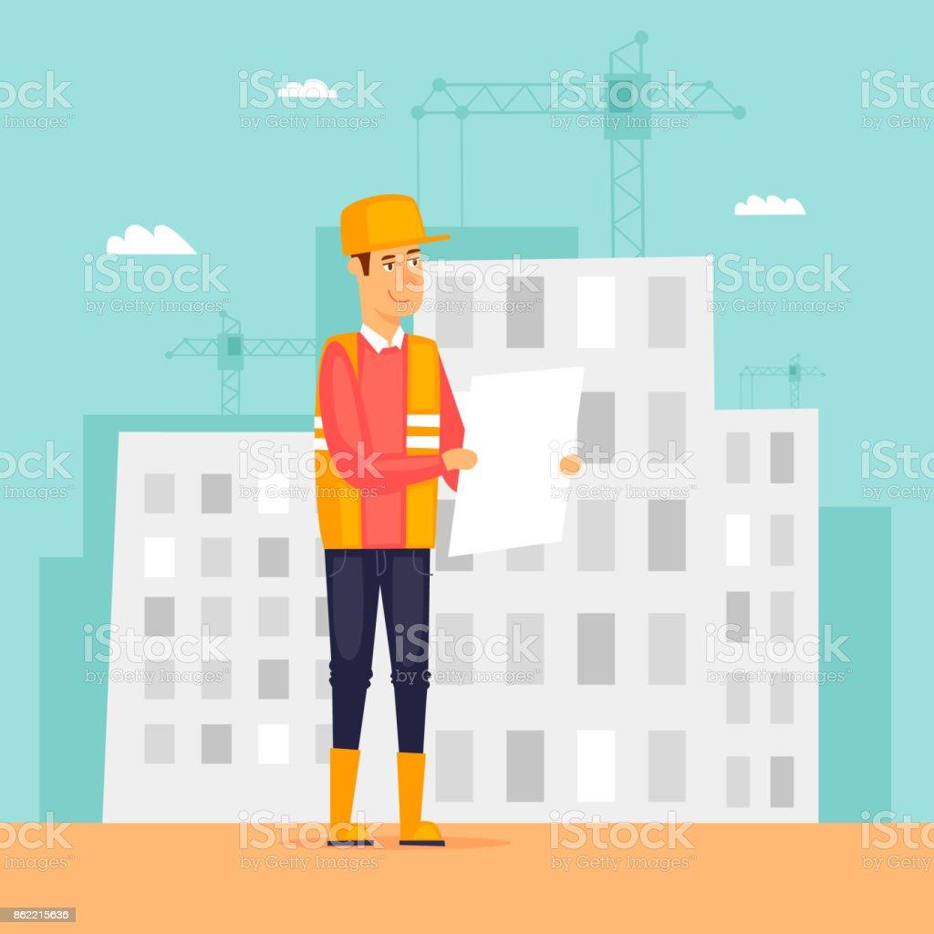 Builder, engineer, on a construction site with a plan. Flat design vector illustration. vector art illustration
