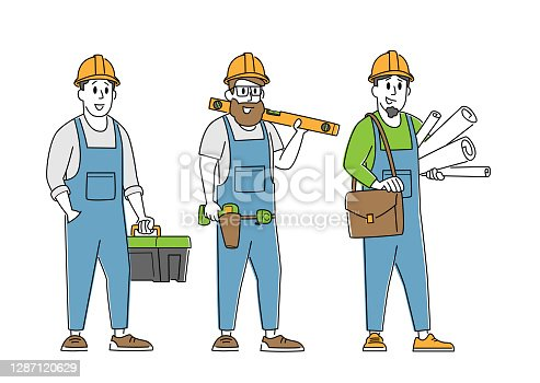 istock Builder, Engineer or Foreman Characters with Tools and Blueprint. Architects with House Plan, Architecture Building 1287120629