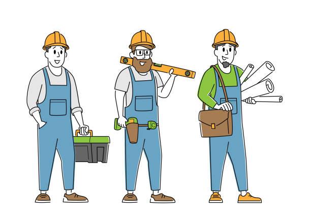 도구와 청사진을 가진 빌더, 엔지니어 또는 포먼 캐릭터. 주택 계획, 건축 건물 과 건축가 - 모자 모자류 stock illustrations