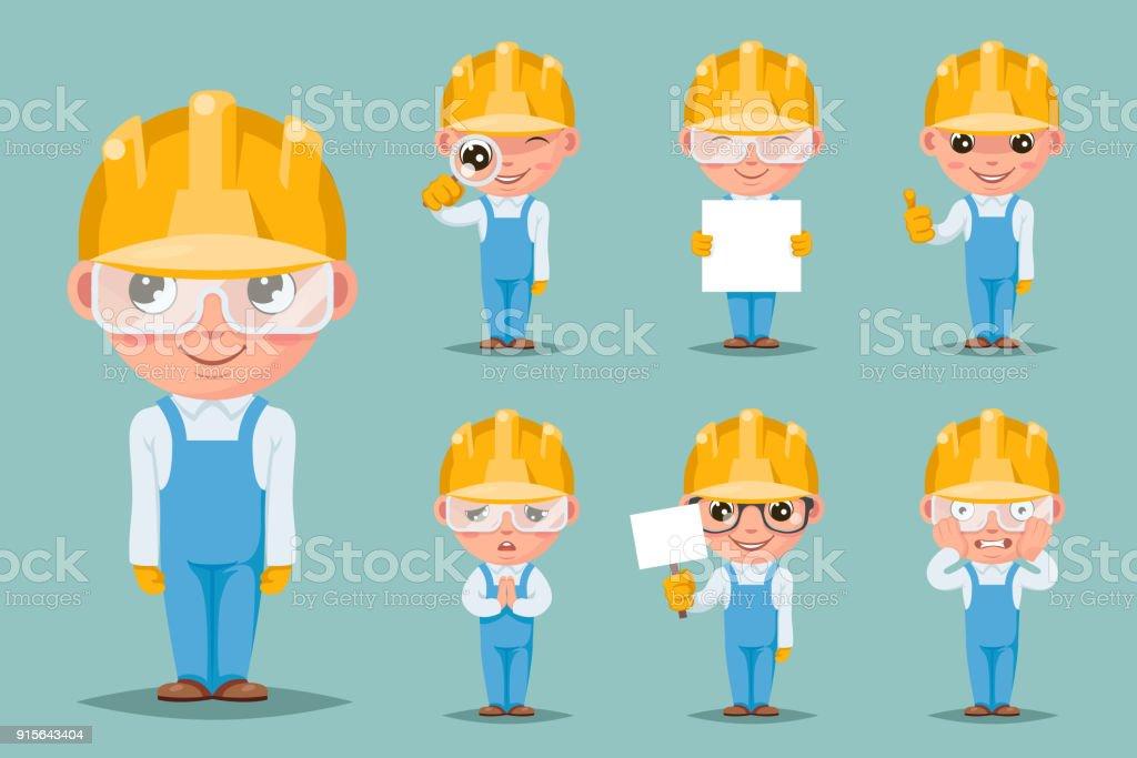 Builder engineer technician mechanic cute mascot happy support approval cartoon characters set design vector illustration vector art illustration