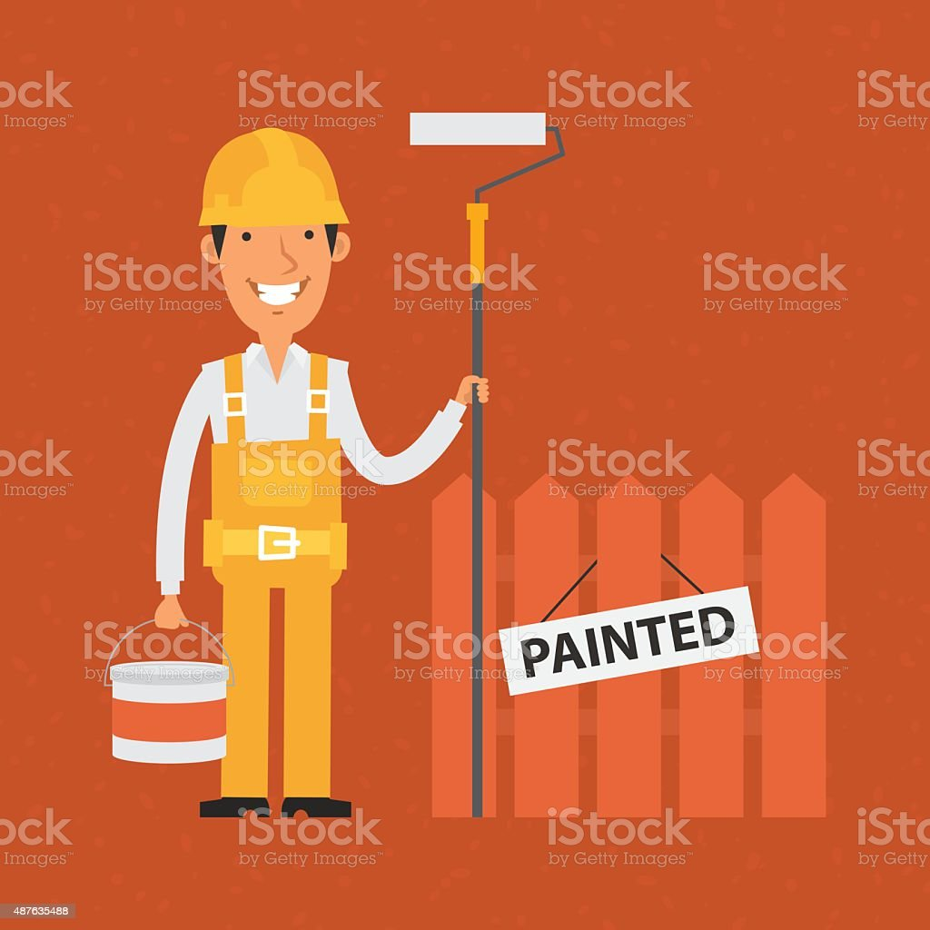 Builder holding roller and bucket of paint vector art illustration