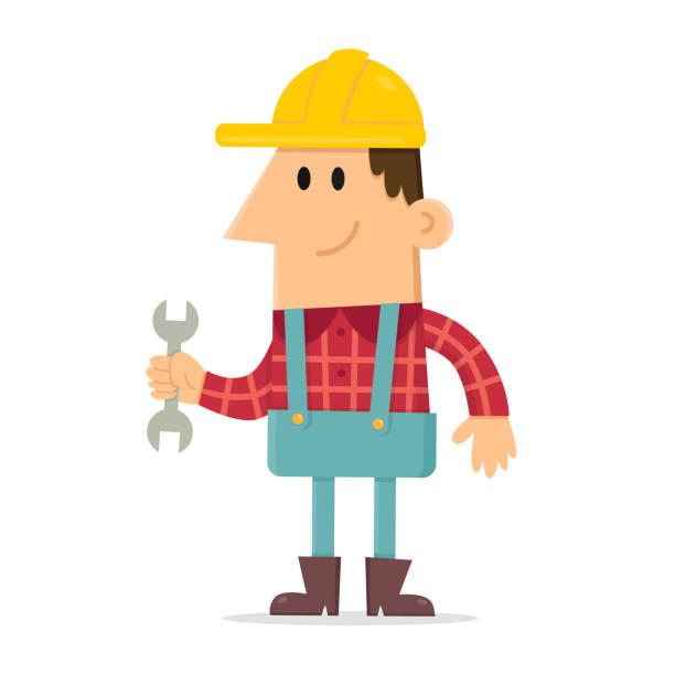 builder holding spanner - plaid shirt stock illustrations