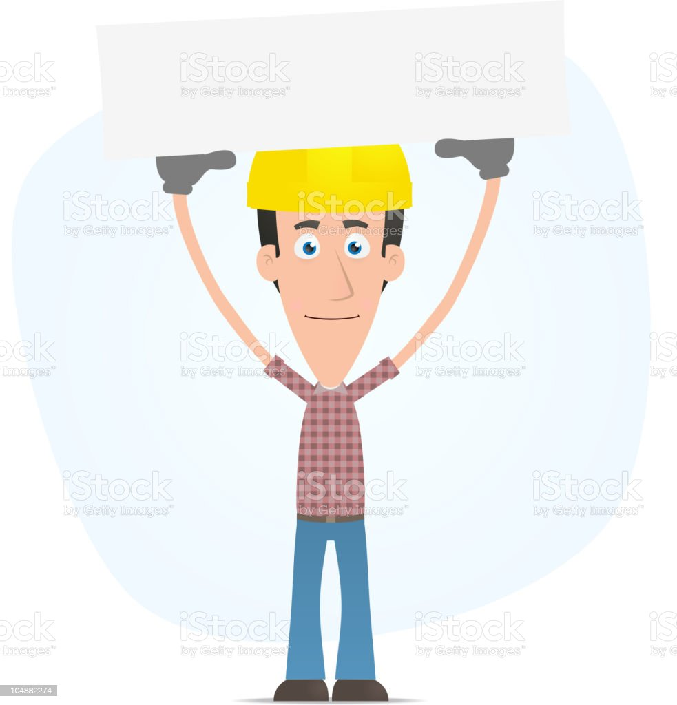 Builder holds over a banner royalty-free stock vector art