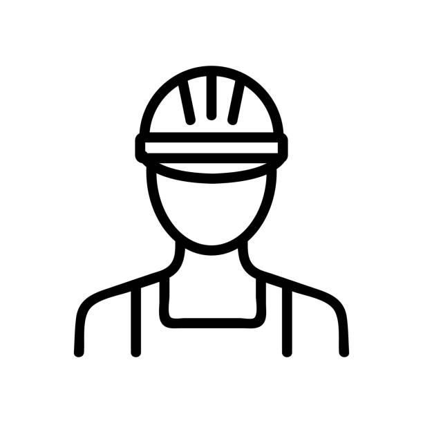 빌더 아이콘 벡터입니다. 격리된 등고선 기호 그림 - 모자 모자류 stock illustrations
