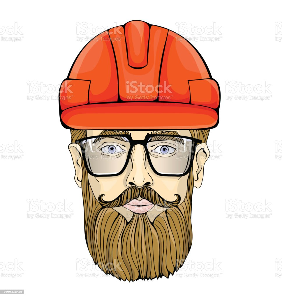 builder industrial worker the face of a bearded man with glasses in