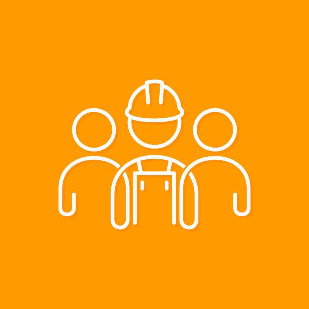 builder line concept. construction worker icon on yellow background - zawód stock illustrations