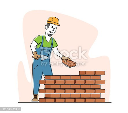istock Builder Male Character Wearing Helmet and Uniform Holding Trowel Put Concrete for Laying Brick Wall at Construction Site 1273822318