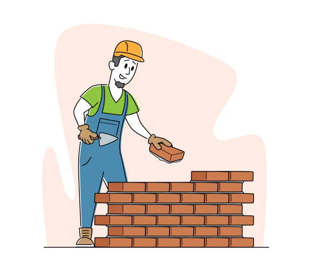 건설 현장에서 벽돌 벽을 쌓기 위해 헬멧과 유니폼을 들고 있는 흙을 쓰고 있는 건축업자 남성 캐릭터 - 모자 모자류 stock illustrations