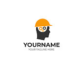 Builder man in a helmet and a brain of gears logo design. Man thinks over a construction project vector design. Head of a man in a construction helmet illustration