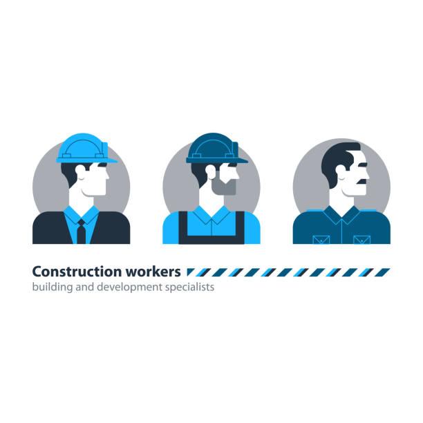 ilustraciones, imágenes clip art, dibujos animados e iconos de stock de constructor hombre vista lado obrero mano de obra, contratista ocupación trabajo - obrero de la construcción