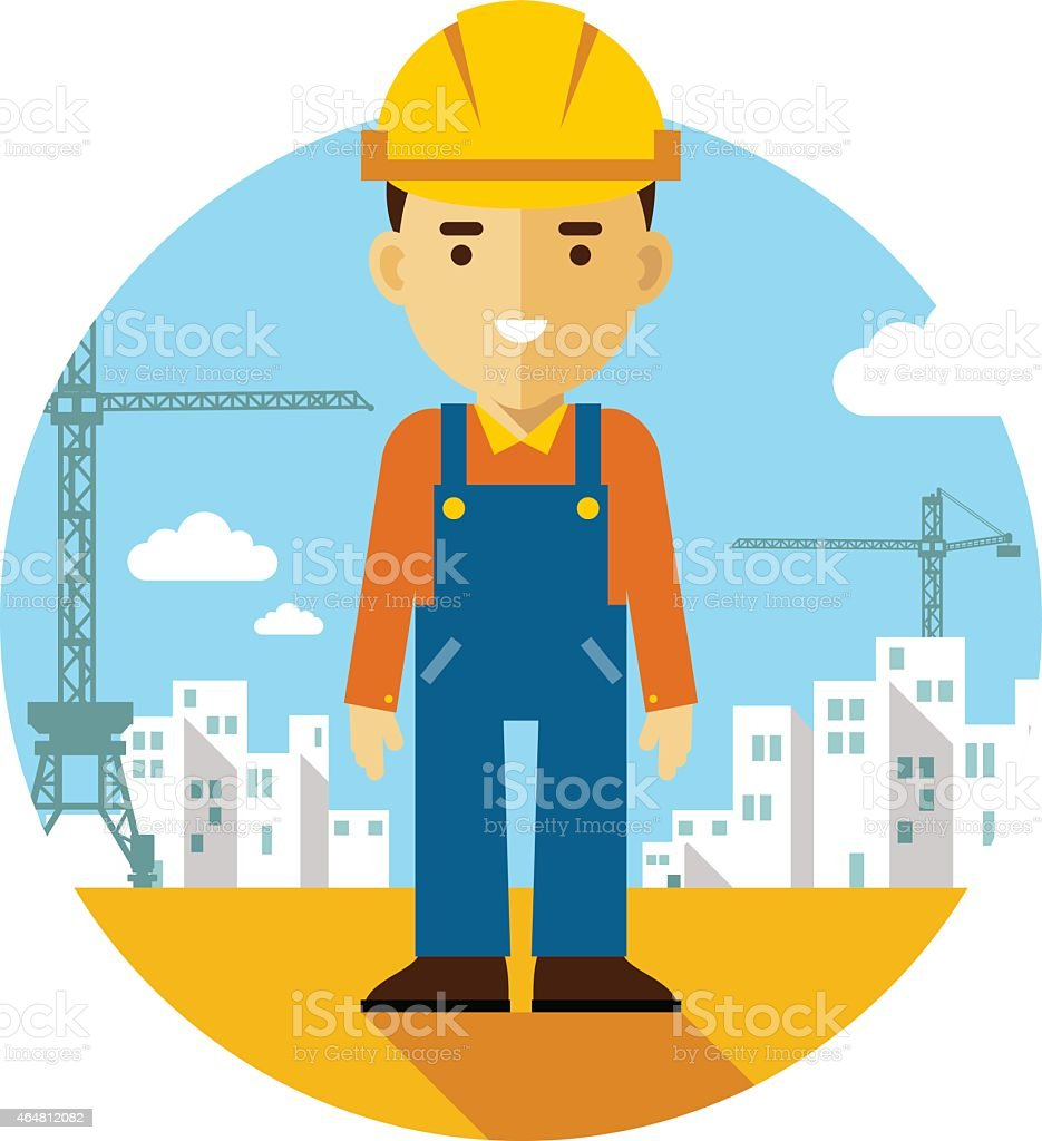 Builder on construction background in flat style vector art illustration