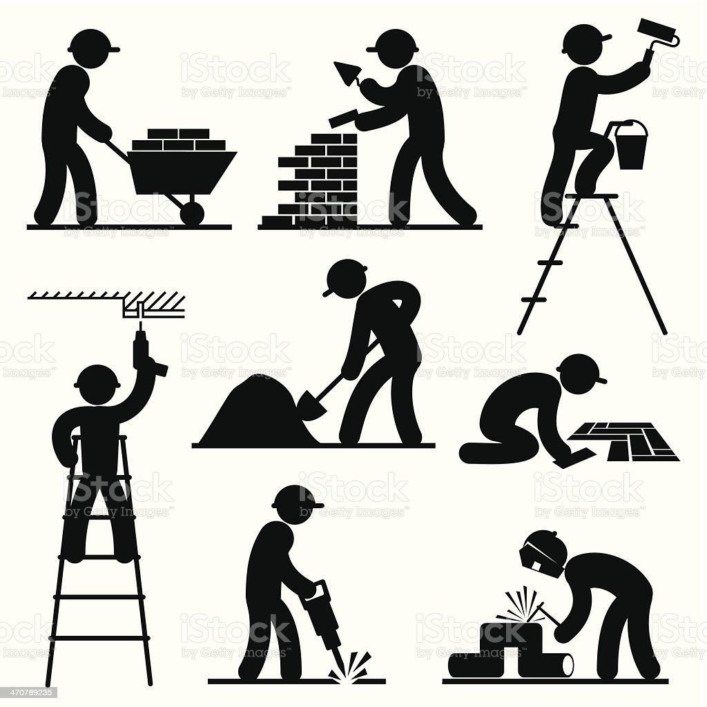 builder people vector art illustration