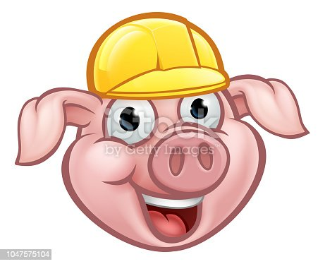 A builder pig cartoon character with yellow hard hat. Could be the one of three little pigs who built his house of bricks
