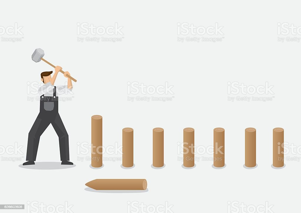 Builder Pounding Wooden Posts into Ground Vector Illustration vector art illustration