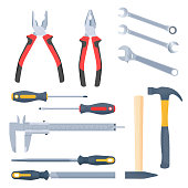 Builder, repair and construction hand tool set. Flat vector elements