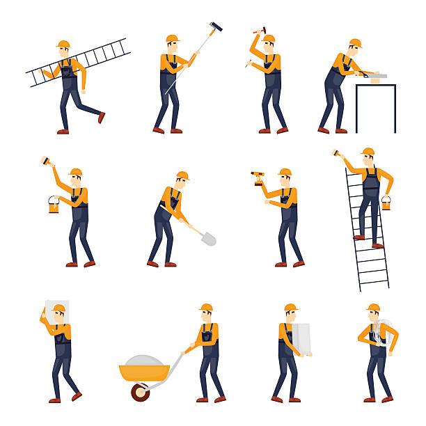 builder, repairs, construction builder in yellow helmet. - construction worker stock illustrations