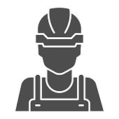 Builder solid icon, house repair concept, Industrial worker sign on white background, Construction worker icon in glyph style for mobile concept and web design. Vector graphics.