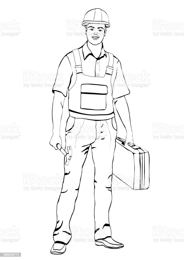 Builder standing front side, coloring, vector outline portrait male workman repairman, black and white painted man in working overalls, with a suitcase for tools in hand, isolated on white background vector art illustration