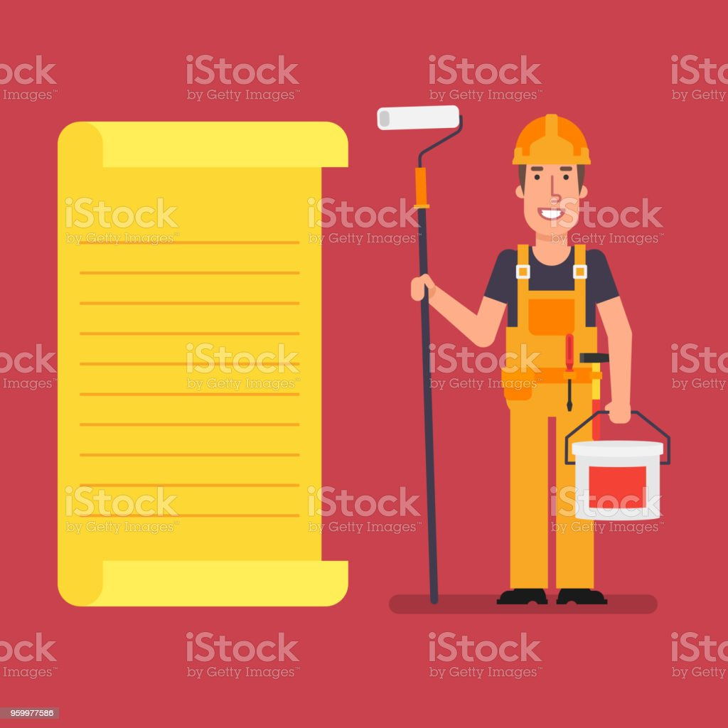 builder stands near paper list holds roller and paint bucket stock