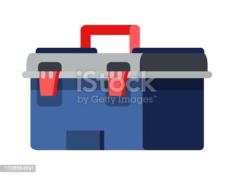Closed tool box isolated on white background. Classic construction suitcase for instrument. Handle toolkit for builder repairman, plumber, constructor, auto technician. Vector illustration