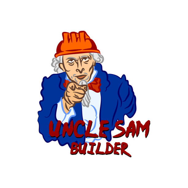 Builder Uncle Sam in the hard hat points with his finger vector art illustration