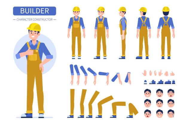 ilustraciones, imágenes clip art, dibujos animados e iconos de stock de generador - obrero de la construcción