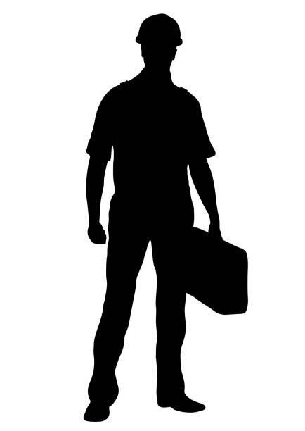 builder vector silhouette, outline male workman repairman standing front side full-length, contour portrait human in coveralls, with a suitcase for tools in hand, isolated on white background - construction worker stock illustrations