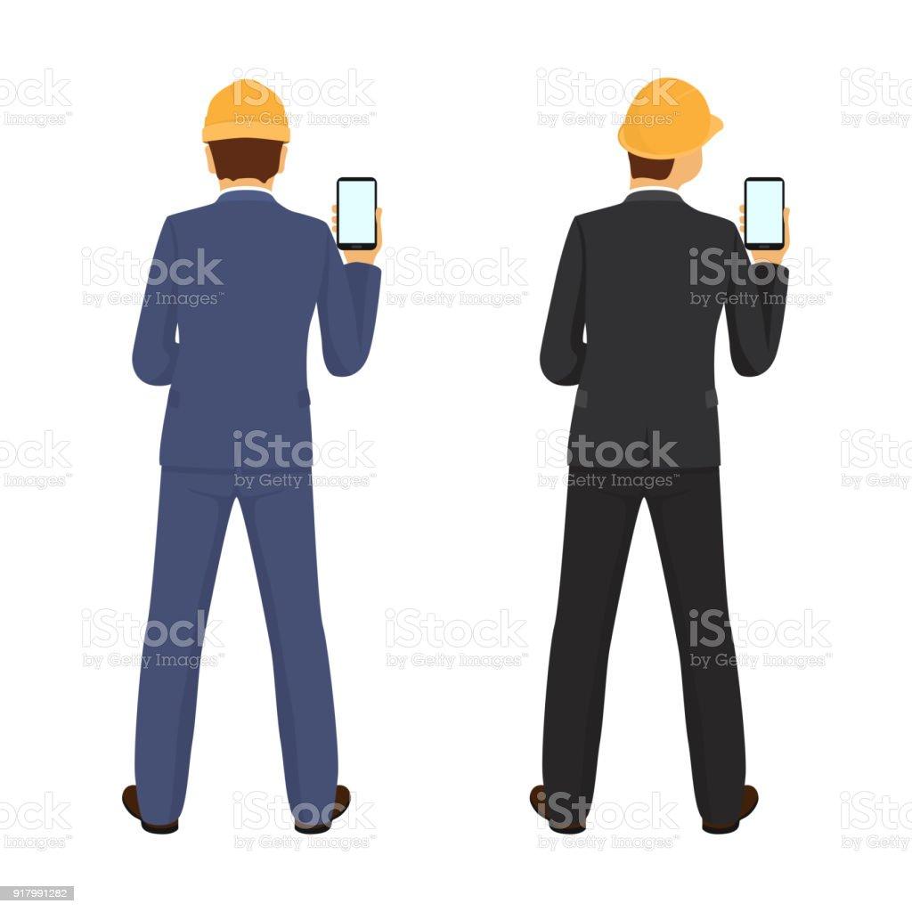 Builder Avec Téléphone En Main Vue De Dos Vecteurs libres de droits