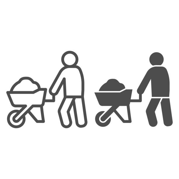 Builder with wheelbarrow of sand line and solid icon. Worker man and cement cart symbol, outline style pictogram on white background. Construction sign for mobile concept, web design. Vector graphics. Builder with wheelbarrow of sand line and solid icon. Worker man and cement cart symbol, outline style pictogram on white background. Construction sign for mobile concept, web design. Vector graphics architecture clipart stock illustrations