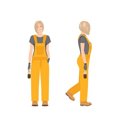 Builder woman vector