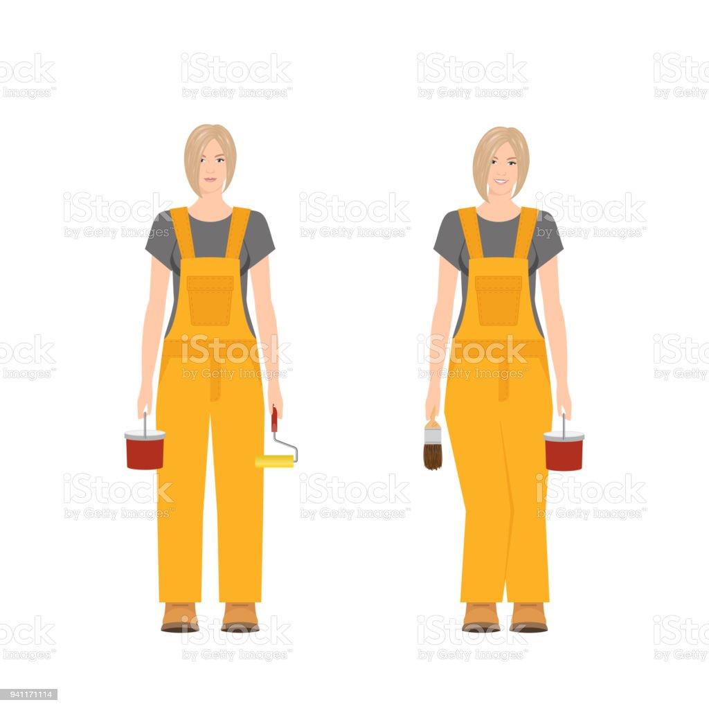 Builder woman vector vector art illustration
