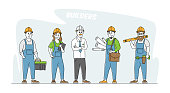 istock Builder, Worker Constructors in Helmets. Engineer or Foreman Characters with Tools and Blueprints. Architects with Plan 1287120634