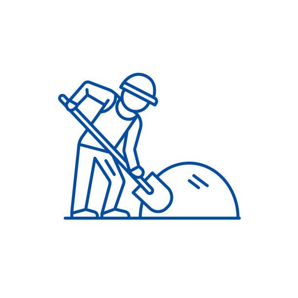 stockillustraties, clipart, cartoons en iconen met builder werken met shovel line icon concept. bouwer werken met schop platte vector symbool, teken, outline illustratie. - shovel