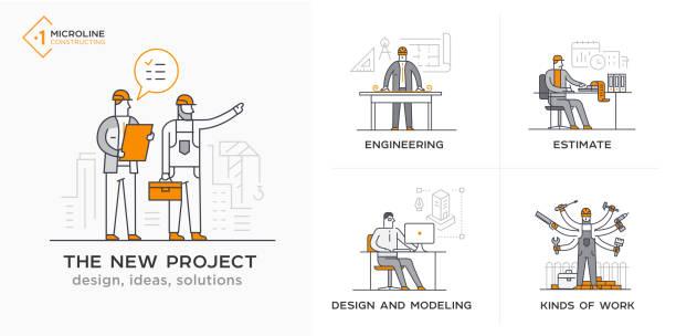 bauherren, ein neues projekt, ingenieur, schätzungen. phasen - ingenieur stock-grafiken, -clipart, -cartoons und -symbole