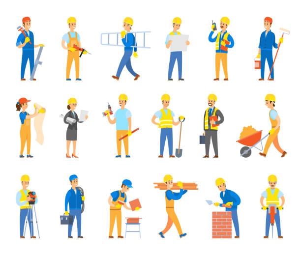 illustrazioni stock, clip art, cartoni animati e icone di tendenza di builders and engineers with tools and bricks set - mechanic