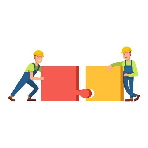 Bauen Sie Gebäude von Puzzles, Bauherren – Vektorgrafik