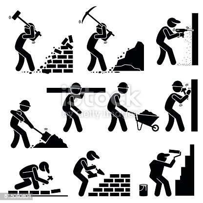Set of vector stick man pictogram representing builders and construction workers using various tools and equipment such as hammer, axes, drill, shovel, trowel, wheelbarrow, hammer, cement, and paint brush to paint wall.
