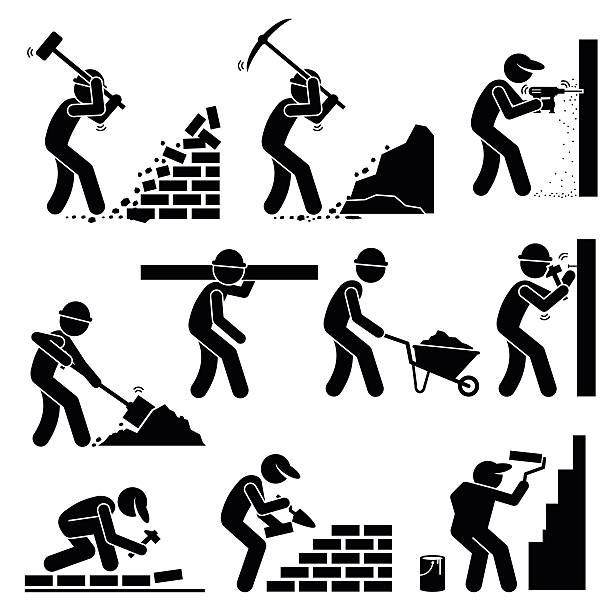 Builders Constructors Workers at Construction Sites Set of vector stick man pictogram representing builders and construction workers using various tools and equipment such as hammer, axes, drill, shovel, trowel, wheelbarrow, hammer, cement, and paint brush to paint wall. demolished stock illustrations