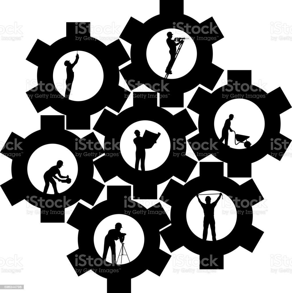 builders set cogwheel Lizenzfreies builders set cogwheel stock vektor art und mehr bilder von aktivitäten und sport