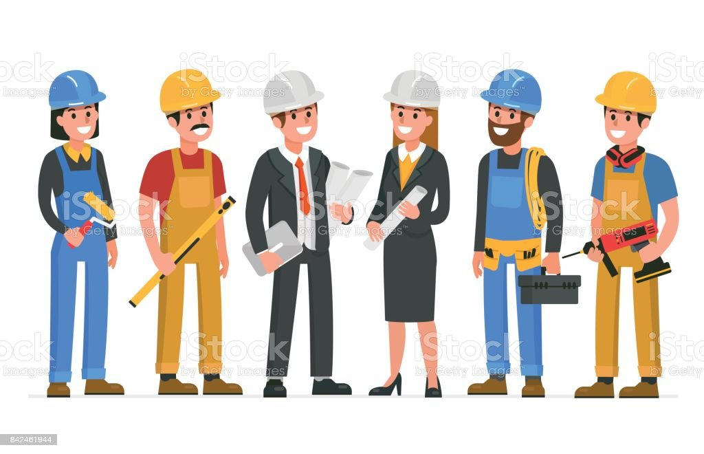 builders vector art illustration
