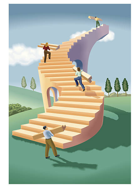 Drawing - Stairway to heaven. Clipart Drawing gg58424550 - GoGraph