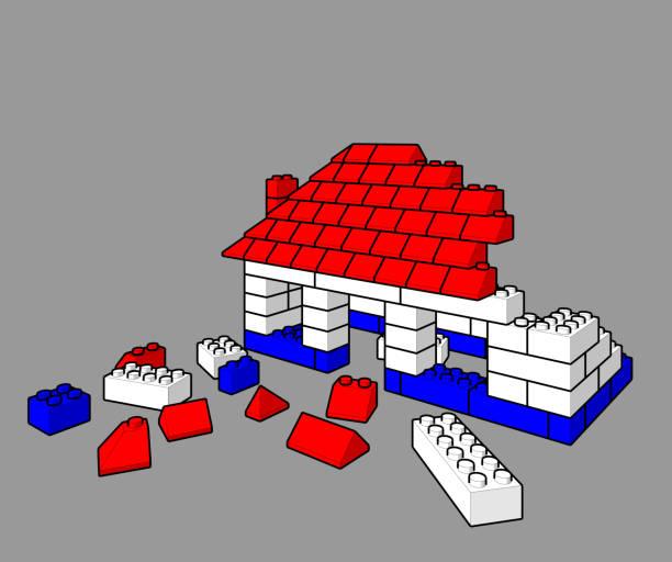 stockillustraties, clipart, cartoons en iconen met bouwen van een huis van speelgoed met lego blokken - lego