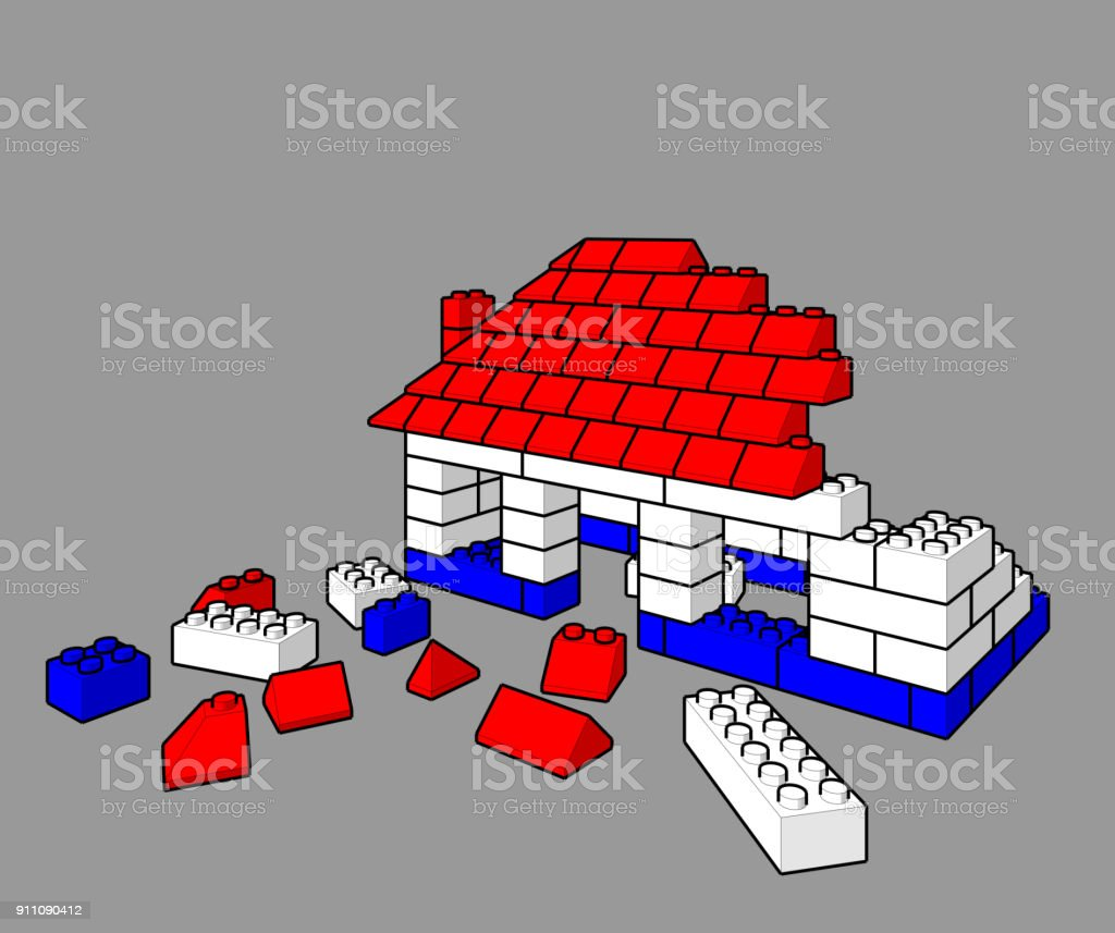 Building A Toy House With Lego Blocks Stock Vector Art & More Images