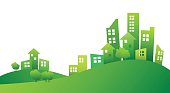 Building and City Illustration green style