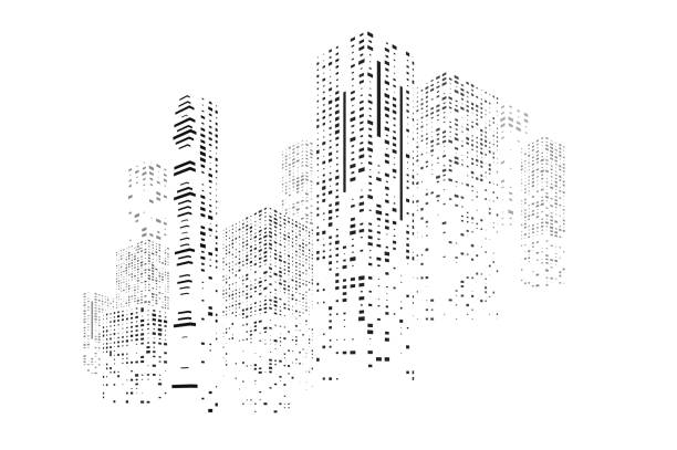building and city illustration - abstract silhouettes stock illustrations