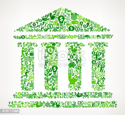 Building and Columns Money and Finance Green Vector Icon Background. This money and finance vector composition features the main design element in the center and is surrounded by a variety of green icons. The icons include such popular financial items as money, dollar, and dollar bill, coins, and many more. Figures of man and women are also present to give the background a human touch. Ideal for wealth, business and money concepts.