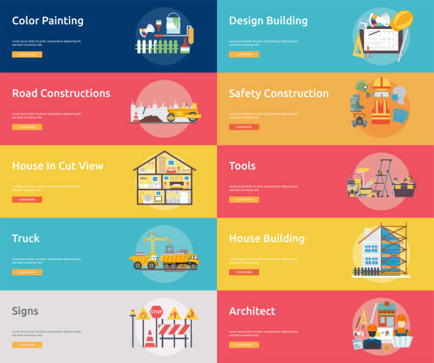 Building and Construction Banner Concept Set of great banner design illustration concepts for building, architect, construction and much more. renovation stock illustrations
