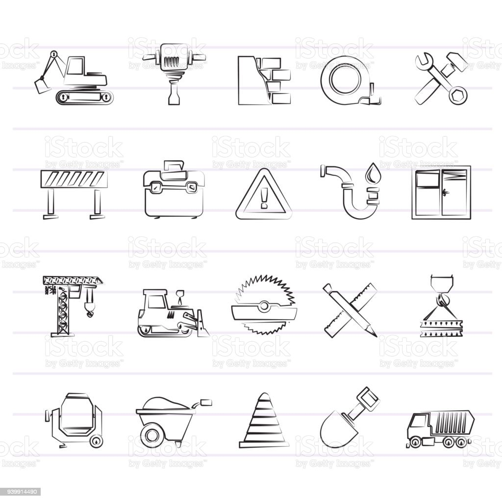 Building and Construction icons vector art illustration