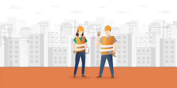 building and construction industry cartoon background with workers - construction worker stock illustrations